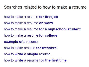 Google Search - How to make a resume