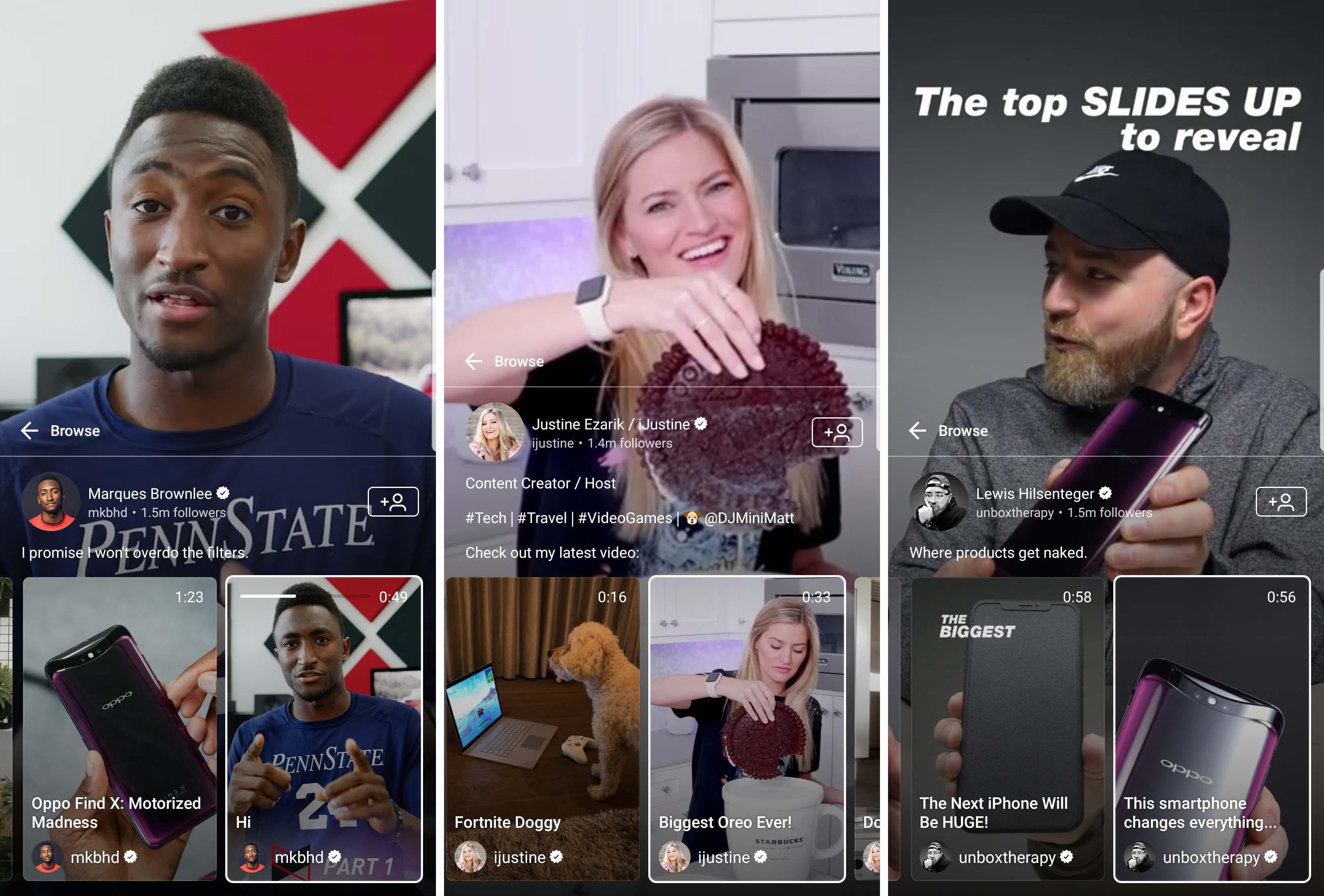 Youtubers on IGTV ( Marques Brownlee, Justine Ezarik, Lewis Hilsenteger ) - createsyou.com